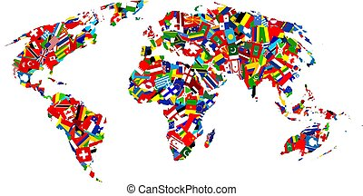 Map of the earth made up using different flags of the world.