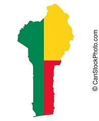 Flag map of Benin Vector illustration eps 10