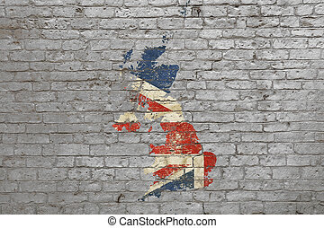 Flag map of Britain painted on brick wall