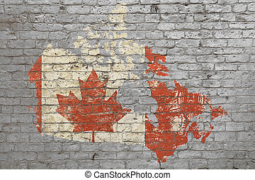 Flag map of Canada, painted on brick wall
