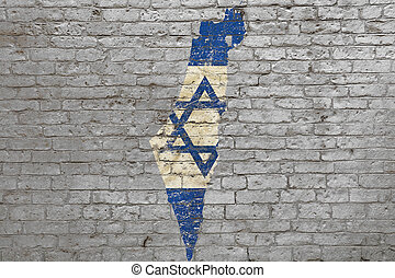 Flag map of Israel painted on brick wall