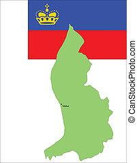flag., mapa, vecto, liechtenstein