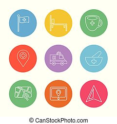 flag, medical , bed,  cup , navigation , ambulance, health , bowl , hospital , location , arrow,  direction , eps icons set vector