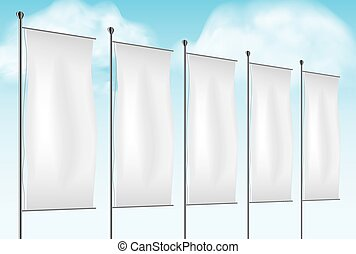 Flag mockup, Blank advertising flags or billboards vector template illustration