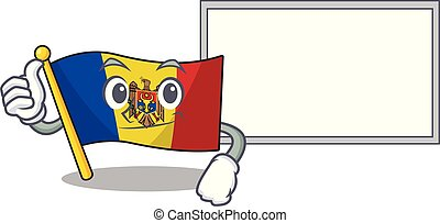 Flag moldova cartoon with in thumbs up with board character