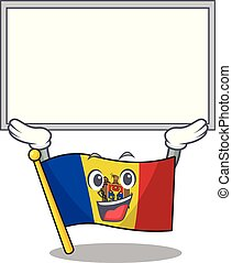 Flag moldova cartoon with in up board character