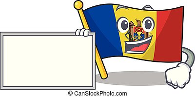 Flag moldova cartoon with in with board character