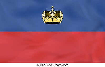 flag., nacional, liechtenstein, bandera ondeante, plano de ...