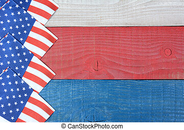 Flag Napkins on Patriotic Table - Overhead shot of American...