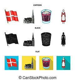 Flag, national, symbol, and other web icon in cartoon, black, flat style. Denmark, history, tourism, icons in set collection.