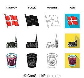 Flag, national, symbol, and other web icon in cartoon, black, outline, flat style. Denmark, history, tourism, icons in set collection.