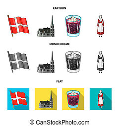 Flag, national, symbol, and other web icon in cartoon, flat, monochrome style. Denmark, history, tourism, icons in set collection.