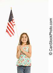 flag., niña, norteamericano, tenencia