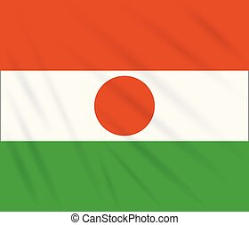 Flag Niger swaying in wind, vector - Flag Republic of Niger...
