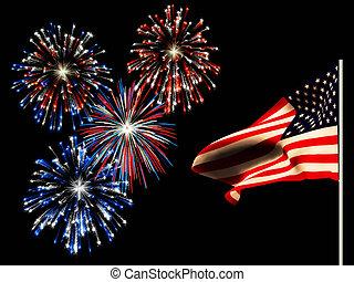 flag., norteamericano, fuegos artificiales, día, ...