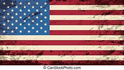 flag., norteamericano, grunge, fondo.