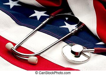 flag:, norteamericano, salud, estetoscopio, debate, cuidado
