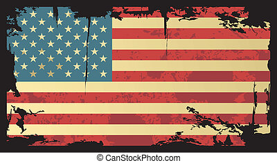 flag., norteamericano, vector, grunge, illustration.