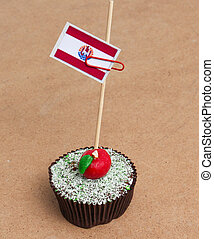 Flag of a french polynesia on cupcake