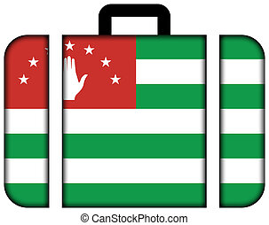 Flag of Abkhazia. Suitcase icon, travel and transportation concept