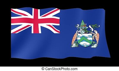 Flag of Acsention Islands. Waving flag
