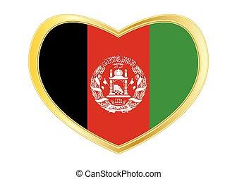 Flag of Afghanistan in heart shape, golden frame