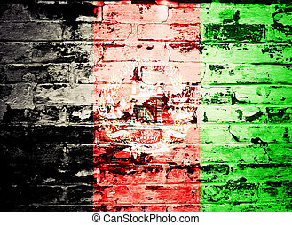 flag of Afghanistan painted on a wall