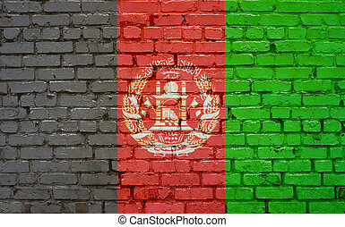 Flag of Afghanistan painted on brick wall, background texture