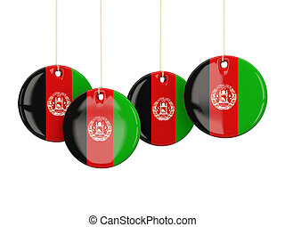 Flag of afghanistan, round labels
