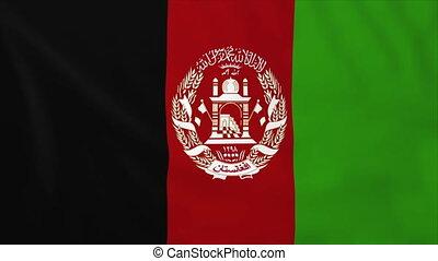 Flag of Afghanistan, slow motion waving. Rendered using...