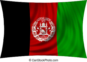 Flag of Afghanistan waving isolated on white