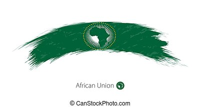 Flag of African Union in rounded grunge brush stroke.