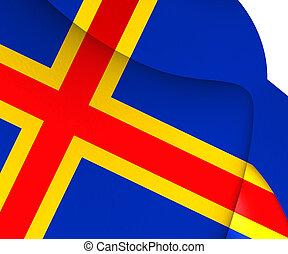 Flag of Aland, Finland. 3D Illustration.