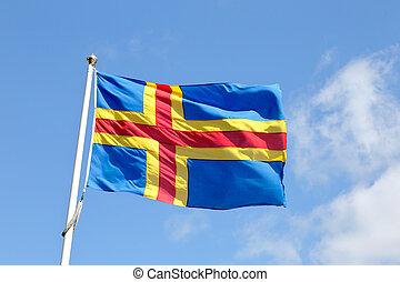 Flag of Aland Islands - Close-up of the Aland Islands flag...