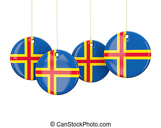 Flag of aland islands, round labels