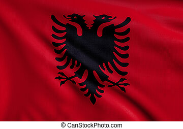 Flag of Albania - 3d illustration flag of Albania