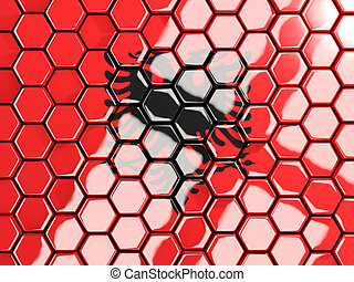 Flag of albania, hexagon mosaic background