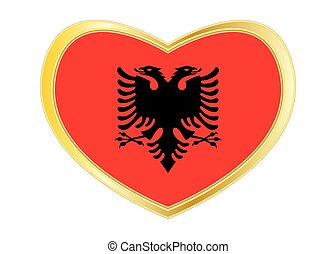 Flag of Albania in heart shape, golden frame
