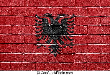 Flag of Albania on brick wall