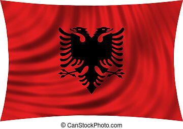 Flag of Albania waving isolated on white