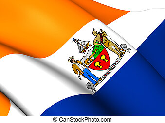 Flag of Albany, USA. Close Up.