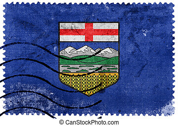 Flag of Alberta Province, Canada, old postage stamp