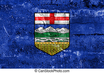 Flag of Alberta Province, Canada, painted on dirty wall