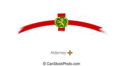 Flag of Alderney in rounded grunge brush stroke. Vector...