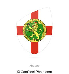 Flag of Alderney. Vector Illustration.