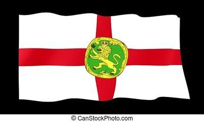 Flag of Alderney. Waving