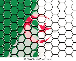 Flag of algeria, hexagon mosaic background