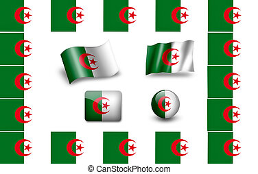 flag of Algeria. icon set