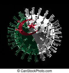 Flag of Algeria on Covid-19 is virus concept. 3D rendering