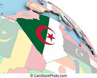 Flag of Algeria on globe